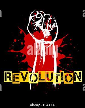 Revolution or resistance Retro poster. Raised fist and blood splat on black. Vector illustration. - Stock Photo