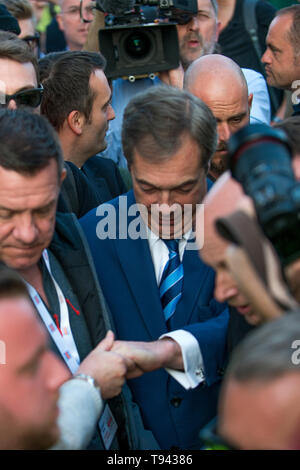 Nigel Farage leaving the stage after his speech at Parliament Square on March 29th 2019 The day the Britain was meant to leave the EU. - Stock Photo