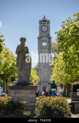 Stanley Park, Blackpool, Lancashire. 12th May 2019. Cocker Clock Tower with statue in Stanley Park, Blackpool. Credit: Craig Searle - Stock Photo