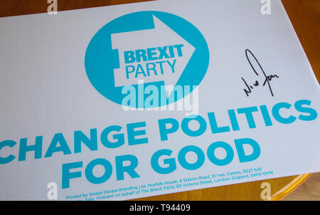 Campaign Sign for The Brexit Party - Stock Photo