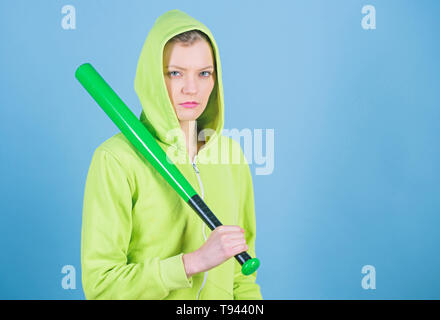 aggressive woman with bat. Fighting with aggression. Street life. Sporty girl fighter. woman workout with baseball bat. Sport equipment. Athletic fitness. copy space. Determined to win. - Stock Photo