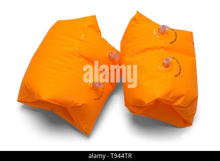 Two Orange Swimming Arm Floats Isolated on White. - Stock Photo