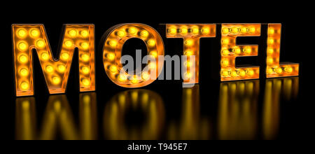 Motel signboard from golden light bulb letters, retro glowing font. 3D rendering - Stock Photo