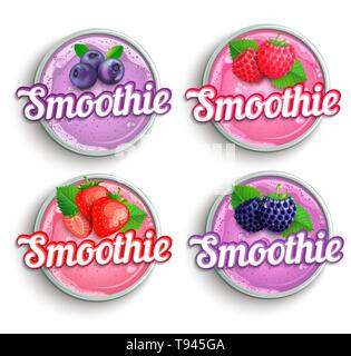 Set of strawberry, blackberry, raspberry, blueberry fresh smoothie logo. - Stock Photo