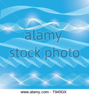 Collection of vector abstract backdrop backgrounds. Waves blended together on blue background. - Stock Photo