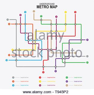 Subway tube map. City transportation vector grid scheme. Metro underground map. DLR and crossrail map design template. - Stock Photo