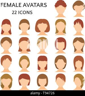 Female avatars icon set. Women without emotions on the face, girls with different hairstyles and hair color vector illustration - Stock Photo
