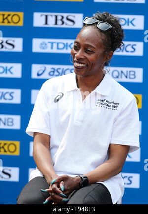 YOKOHAMA, JAPAN - MAY 10: Gail Devers during the official press conference of the 2019 IAAF World Relay Championships at the Nissan Stadium on May 10, 2019 in Yokohama, Japan. (Photo by Roger Sedres for the IAAF) - Stock Photo