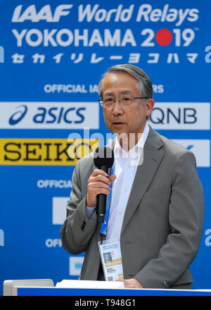 YOKOHAMA, JAPAN - MAY 10: JAAF President Hiroshi Yokokawa during the official press conference of the 2019 IAAF World Relay Championships at the Nissan Stadium on May 10, 2019 in Yokohama, Japan. (Photo by Roger Sedres for the IAAF) - Stock Photo