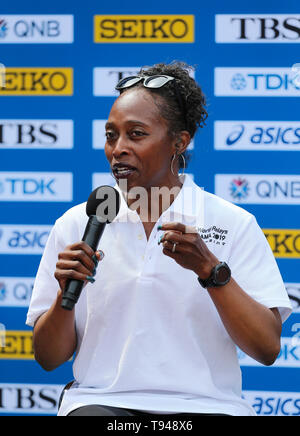 YOKOHAMA, JAPAN - MAY 10: Gail Devers, IAAF Ambassador, during the official press conference of the 2019 IAAF World Relay Championships at the Nissan Stadium on May 10, 2019 in Yokohama, Japan. (Photo by Roger Sedres for the IAAF) - Stock Photo