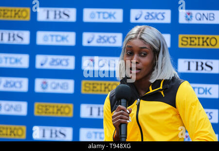 YOKOHAMA, JAPAN - MAY 10: Elaine Thompson of Jamaica during the official press conference of the 2019 IAAF World Relay Championships at the Nissan Stadium on May 10, 2019 in Yokohama, Japan. (Photo by Roger Sedres for the IAAF) - Stock Photo