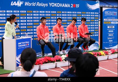 YOKOHAMA, JAPAN - MAY 10: Japan's 4x100m team (Yoshihide Kiryu, Ryota Yamagata, Yuki Koike, Shuhei Tada) during the official press conference of the 2019 IAAF World Relay Championships at the Nissan Stadium on May 10, 2019 in Yokohama, Japan. (Photo by Roger Sedres for the IAAF) - Stock Photo