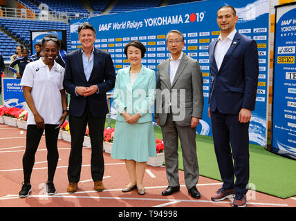 YOKOHAMA, JAPAN - MAY 10: Gail Devers, IAAF President Sebastian Coe, Mayor of Yokohama Fumiko Hayashi, JAAF President Hiroshi Yokokawa during the official press conference of the 2019 IAAF World Relay Championships at the Nissan Stadium on May 10, 2019 in Yokohama, Japan. (Photo by Roger Sedres for the IAAF) - Stock Photo