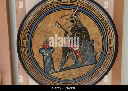 Hermes, Decorative plate from Plaka Athens mo - Stock Photo