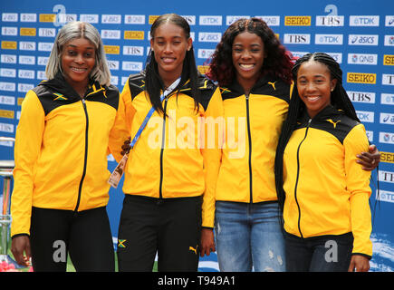 YOKOHAMA, JAPAN - MAY 10: Jamaica's women's 4x200m team (Shelly-Ann Fraser-Pryce, Shericka Jackson, Stephenie Ann McPherson, Elaine Thompson)  during the official press conference of the 2019 IAAF World Relay Championships at the Nissan Stadium on May 10, 2019 in Yokohama, Japan. (Photo by Roger Sedres for the IAAF) - Stock Photo