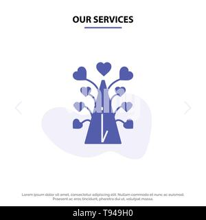 Our Services Love, Tree, Heart, Valentine, Valentine's Day,  Solid Glyph Icon Web card Template - Stock Photo