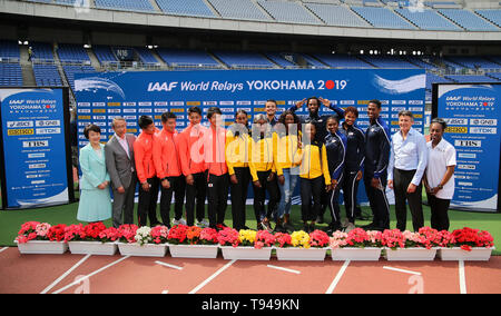 YOKOHAMA, JAPAN - MAY 10:  Mayor of Yokohama Fumiko Hayashi, JAAF President Hiroshi Yokokawa, apan's 4x100m team (Yoshihide Kiryu, Ryota Yamagata, Yuki Koike, Shuhei Tada), Jamaica's women's 4x200m team (Shelly-Ann Fraser-Pryce, Shericka Jackson, Stephenie Ann McPherson, Elaine Thompson), USA's shuttle hurdles relay team (Devon Allen, Christina Clemons, Freddie Crittenden, Ryan Fontenot, Queen Harrison, Sharika Nelvis), IAAF President Sebastian Coe and IAAF Ambassador, Gail Devers, during the official press conference of the 2019 IAAF World Relay Championships at the Nissan Stadium on May 10,  - Stock Photo
