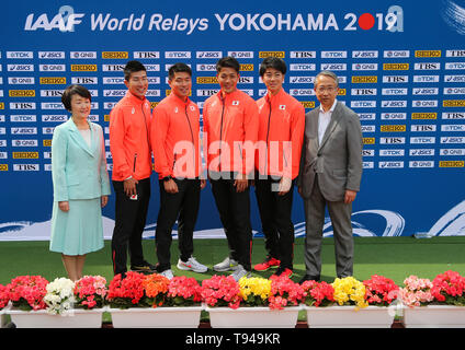 YOKOHAMA, JAPAN - MAY 10: Mayor of Yokohama Fumiko Hayashi, Japan's 4x100m team (Yoshihide Kiryu, Ryota Yamagata, Yuki Koike, Shuhei Tada) and JAAF President Hiroshi Yokokawa during the official press conference of the 2019 IAAF World Relay Championships at the Nissan Stadium on May 10, 2019 in Yokohama, Japan. (Photo by Roger Sedres for the IAAF) - Stock Photo