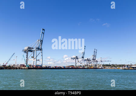 Container Terminal in Auckland, New Zealand - Stock Photo