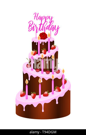 Pink birthday cake - Stock Photo