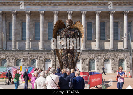 The Knife Angel sculpture by Alfie Bradley is made from thousands of surrendered knives and promotes the effect of knife crime on society. - Stock Photo
