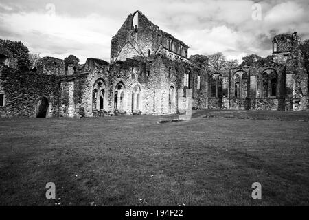 Black and White image of the ruined Cistercian Abbey at Netley, Southampton, UK which dates from the 13th century - Stock Photo