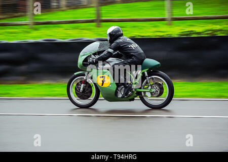 A classic Norton motorbike on the track at Goodwood Revival 2017 - Stock Photo