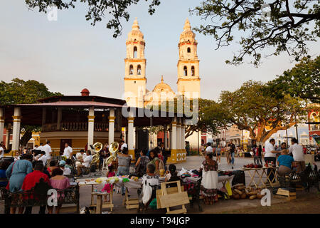 Campeche Mexico - Cathedral and people in the Central square, Campeche old town, UNESCO world heritage site, Yucatan Mexico Latin America - Stock Photo