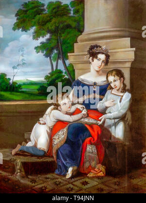 Louise of Saxe-Gotha-Altenburg, duchess of Saxe-Coburg and Gotha, with her children, Albert, future husband of Queen Victoria, and Ernest, future duke of Saxe-Coburg and Gotha, family portrait painting by Ludwig Döll, c. 1823 - Stock Photo