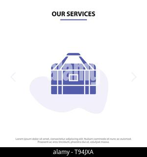 Our Services Bag, Equipment, Gym, Sports Solid Glyph Icon Web card Template - Stock Photo