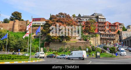 Tbilisi, Georgia - Sep 22, 2018. Cityscape of Tbilisi, Georgia. Tbilisi is the capital and the largest city of Georgia. - Stock Photo
