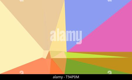 pale golden rod, hot pink and dark golden rod color geometric triangle background. simple illustration trendy abstract for poster design, cards, wallp - Stock Photo