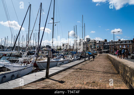 Paimpol, France - July 28, 2018: Sailing boats in the marine of the port of Paimpol - Stock Photo