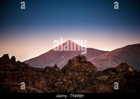 Teide volcano in the evening sunlight - Stock Photo