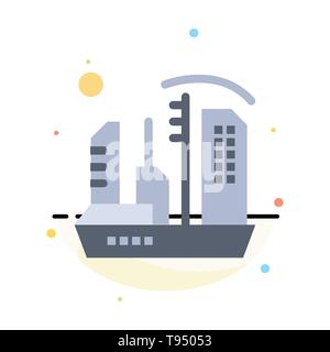 City, Colonization, Colony, Dome, Expansion Abstract Flat Color Icon Template - Stock Photo