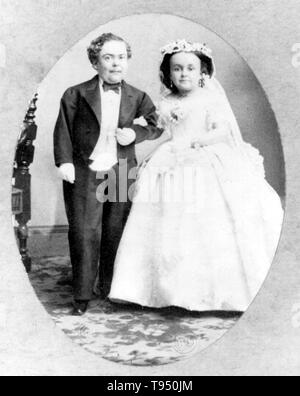 Charles Sherwood Stratton (January 4, 1838 - July 15, 1883), 'General Tom Thumb', was an American dwarf performer. P.T. Barnum, a distant relative, taught the boy how to sing, dance, mime, and impersonate famous people. Barnum took young Stratton on a tour of Europe, making him an international celebrity. His marriage with a little person, Lavinia Warren (October 31, 1842 - November 25, 1919), became front-page news. - Stock Photo