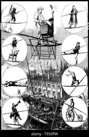 Charles Blondin (born Jean François Gravelet, February 28, 1824 - February 22, 1897) was a French tightrope walker and acrobat, called the 'Chevalier Blondin', or simply 'The Great Blondin'. At the age of five he was sent to the École de Gymnase at Lyon and, after six months training as an acrobat, made his first public appearance as 'The Boy Wonder'. His superior skill and grace, as well as the originality of the settings of his acts, made him a popular favorite. He is most remembered for crossing the Niagara Gorge (located on the Canada- US border) on a tightrope, 1,100 feet long, 3.25 inche - Stock Photo