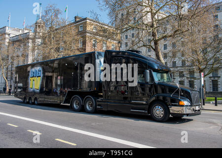 Volvo T-Cab unit and trailer that has been hire to tour with Tommy Robinson and to show his controversial Panodrama program across the country. - Stock Photo