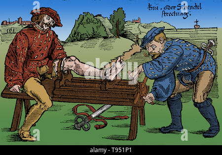 Reduction of a fracture of the leg on the battlefield, 1528. Woodcut from Feldtbuch des Wundartzney (Fieldbook of Surgery) by H. von Gersdorff, Strasbourg. This image has been colorized. - Stock Photo