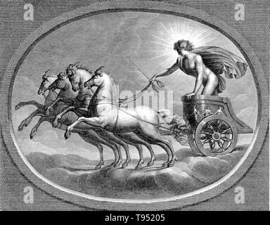 Sol in his chariot, riding across the heavens. Sol was the solar deity in Ancient Roman religion. It was long thought that Rome actually had two different, consecutive sun gods. The first, Sol Indiges, was thought to have been unimportant, disappearing altogether at an early period. Only in the late Roman Empire, scholars argued, did solar cult re-appear with the arrival in Rome of the Syrian Sol Invictus, perhaps under the influence of the Mithraic mysteries. - Stock Photo