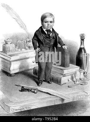 Stratton, age 12. Charles Sherwood Stratton (January 4, 1838 - July 15, 1883), 'General Tom Thumb', was an American dwarf performer. P.T. Barnum, a distant relative (half fifth cousin, twice removed), heard about Stratton and after contacting his parents, taught the boy how to sing, dance, mime, and impersonate famous people. Barnum took young Stratton on a tour of Europe, making him an international celebrity. - Stock Photo