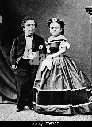 Charles Sherwood Stratton (January 4, 1838 - July 15, 1883), 'General Tom Thumb', was an American dwarf performer. P.T. Barnum, a distant relative (half fifth cousin, twice removed), heard about Stratton and after contacting his parents, taught the boy how to sing, dance, mime, and impersonate famous people. Barnum took young Stratton on a tour of Europe, making him an international celebrity. - Stock Photo