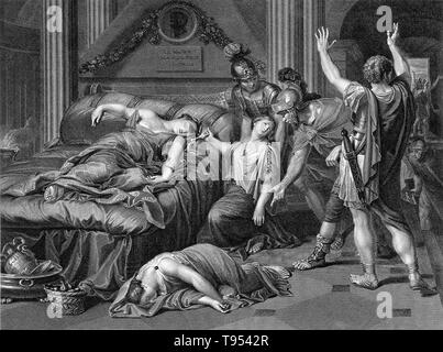 Roman soldiers discover Cleopatra lying dead on her bed with the asp wriggling on her left arm and her dead maid lying next to the bed. Cleopatra VII Philopator (69 - August 12, 30 BC) was the last active ruler of Ptolemaic Egypt, briefly survived as pharaoh by her son Caesarion. She was a member of the Ptolemaic dynasty, a Greek family of Macedonian origin. Cleopatra originally ruled jointly with her father Ptolemy XII Auletes, and later with her brothers Ptolemy XIII and Ptolemy XIV, whom she married as per Egyptian custom, but eventually she became sole ruler. As queen, she consummated a li - Stock Photo
