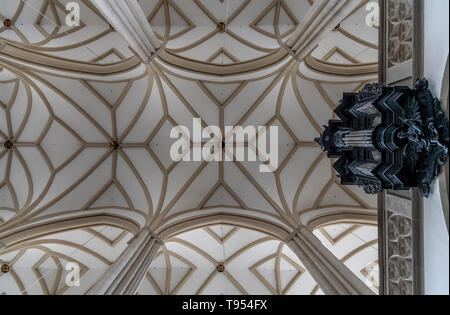 The ceiling of St. James' Church, Brno in the Czech Republic. Dating back to the 13th century. Famous for the ossuary beneath the chuch. - Stock Photo