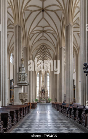 The magnificent interior of St. James' Church, Brno in the Czech Republic. Dating back to the 13th century. Famous for the ossuary beneath the chuch. - Stock Photo