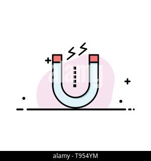 Magnet, Attract, Attracting, Tool  Business Flat Line Filled Icon Vector Banner Template - Stock Photo