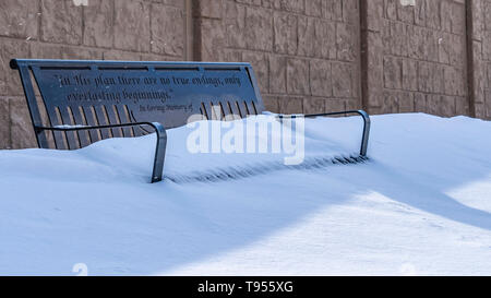 Marvelous Metal Bench With The Seat Covered In Powdery White Snow On A Andrewgaddart Wooden Chair Designs For Living Room Andrewgaddartcom