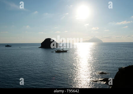 View of Filicudi Island from Salina, one of the Aeolian Islands off Sicily, Italy - Stock Photo