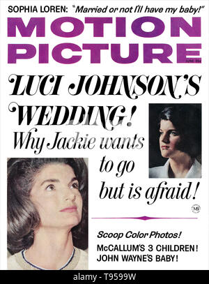 Front cover of Motion Picture magazine for June 1966, featuring Luci Johnson and Jackie Kennedy. - Stock Photo