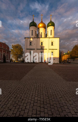 Kolomna, Russia, View of the Cathedral Square in the old Kolomna Kremlin, landmark - Stock Photo
